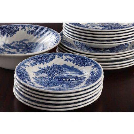 Alicia fehér rózsaszín kerámia étkészlet 18 részes