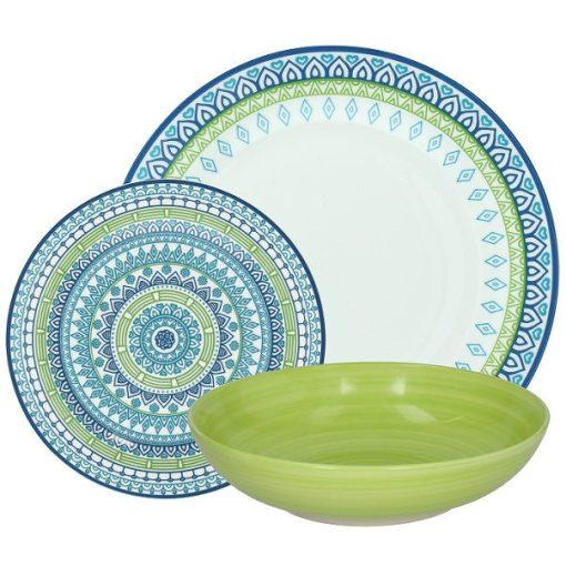 Cirka porcelán étkészlet zöld sárga 18 részes