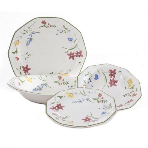 Churchill színes porcelán étkészlet tányérkészlet 19 részes