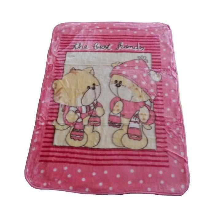 Erdei Macik Rózsaszín Sárga Gyerek Pléd 100 x 140 cm
