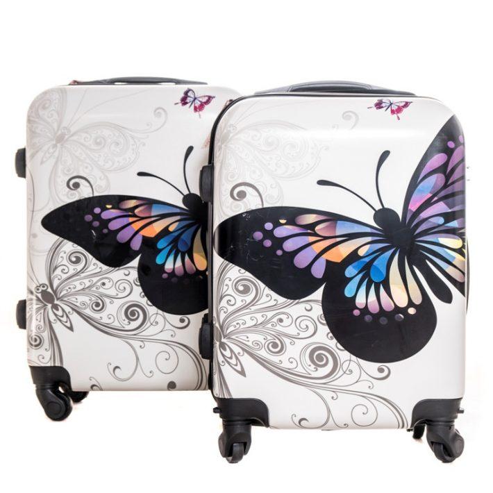 Berlin,csajos, pillangós 2 részes bőrönd szett