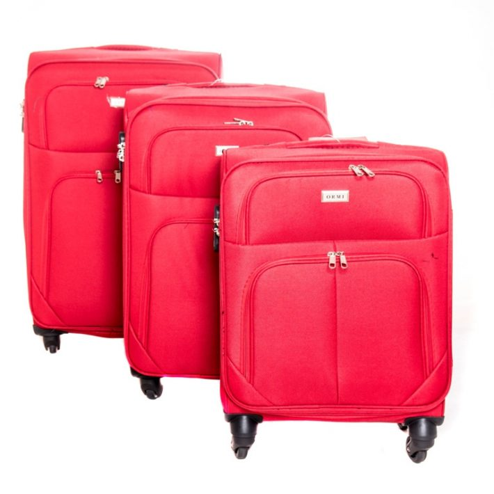 Bedburg puhafalú 3 részes bőrönd szett piros