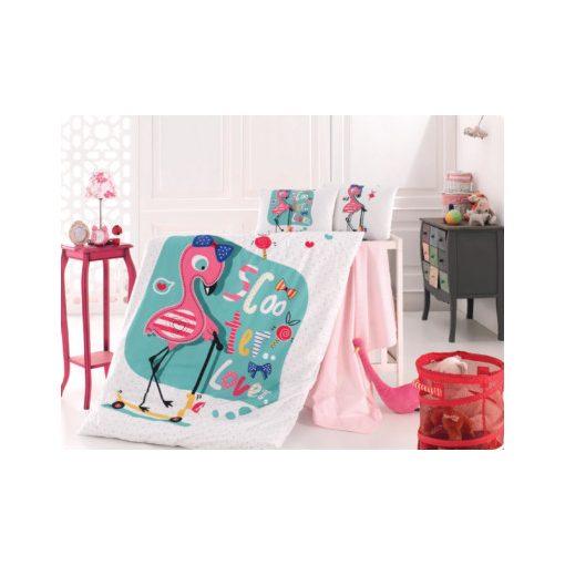 Rolleres Flamingók 100% Pamut Gyerek Ovis Ágyneműhuzat 2 részes
