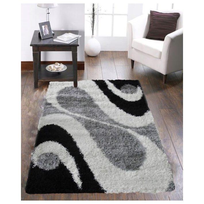 Trend Shaggy Fehér Fekete Szürke szőnyeg