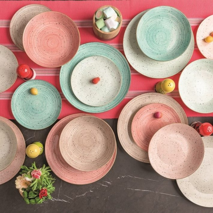 Nyár sokszínű tányérkészlet étkészlet 18 részes