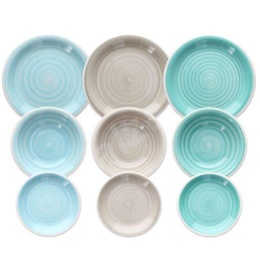Zöldesi zöld kerámia étkészlet 18 részes