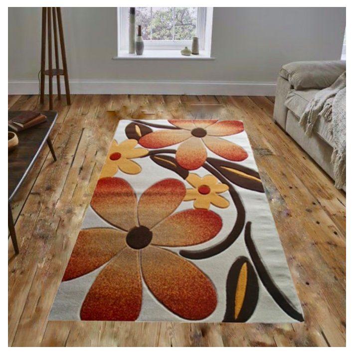 Margó Nyírt Narancs Barna Fehér szőnyeg