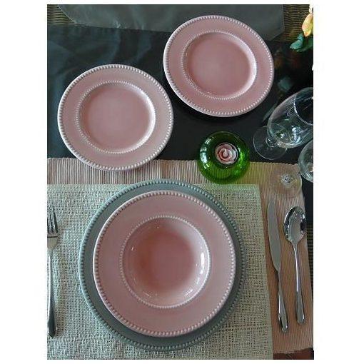 Rózsaszín-Szürke étkészlet Szüri tányérkészlet 18 részes