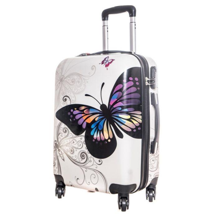Detmold kemény közép bőrönd csajos, színes, pillangós