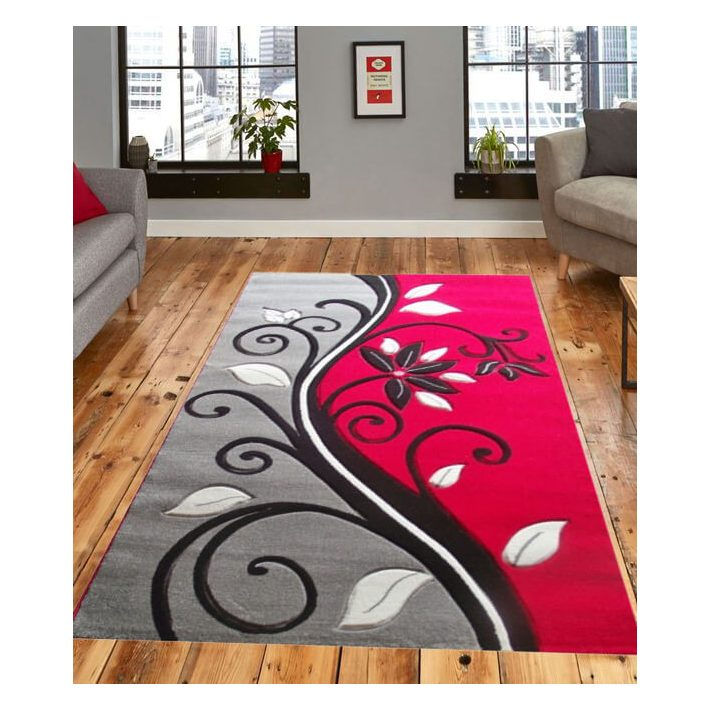 Decoria Nyírt Fekete Fehér Piros szőnyeg