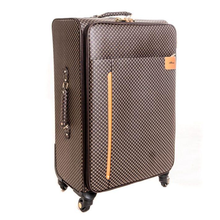 Garz fekete –barna elegáns bőrönd puhafalú