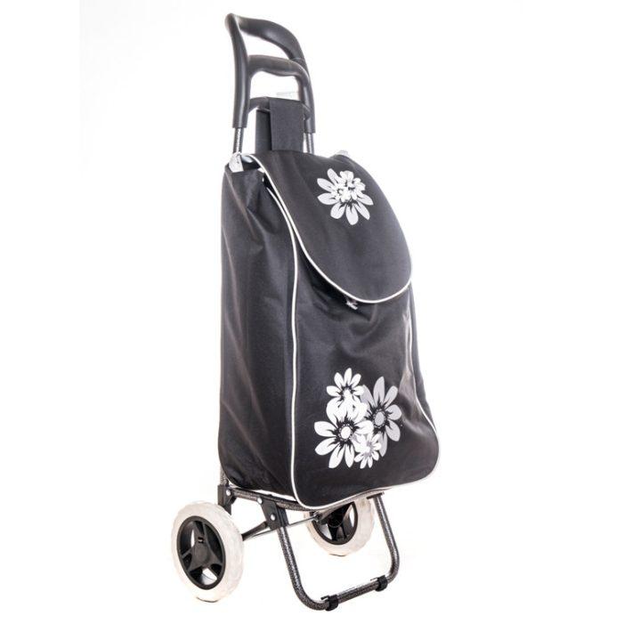 Bottrop fekete, fehér virágos bevásárlókocsi
