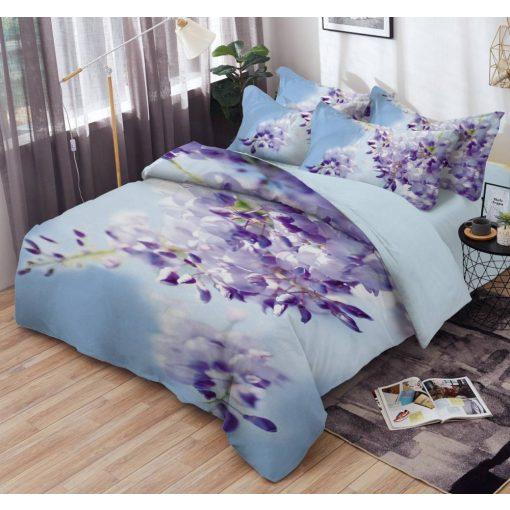 Éden 3d virágos ágyneműhuzat garnitúra lila pamut 7 részes