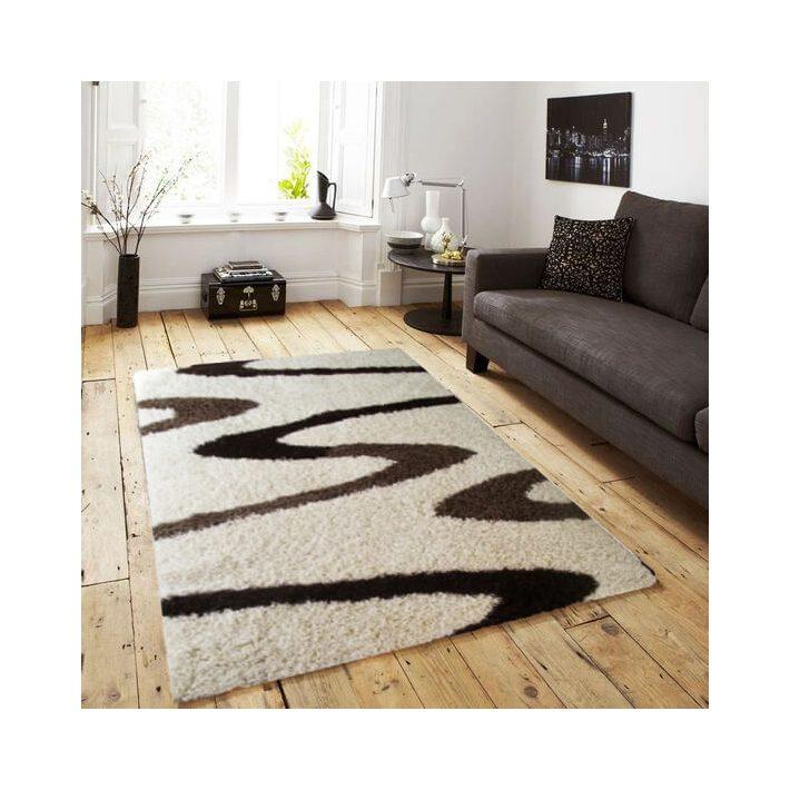 Bruxelles Shaggy Barna Fehér szőnyeg