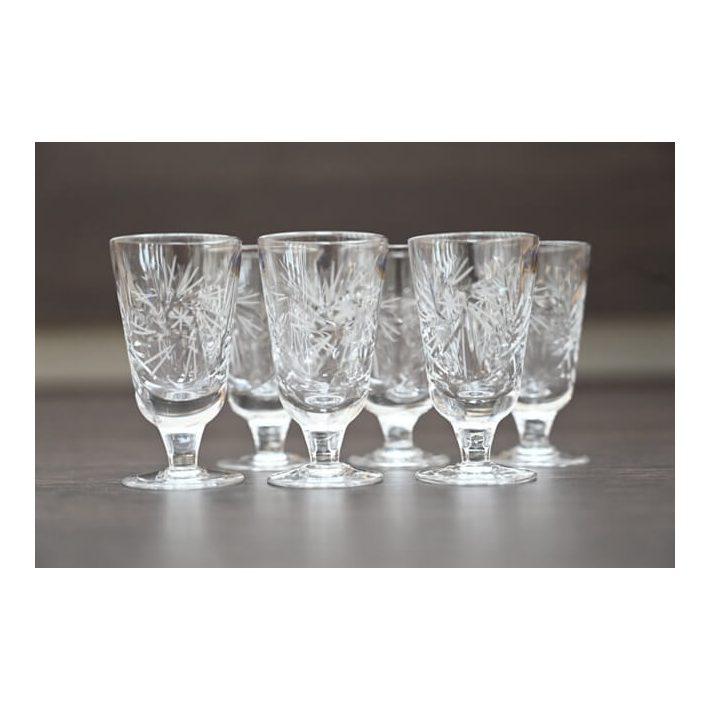 Francia pálinkás kristály pohár készlet 6 db-os