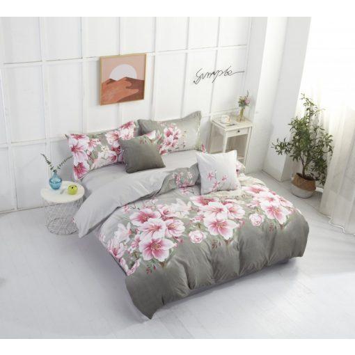 Melódia szürke rózsaszín krepp ágyneműhuzat virágos 3 részes